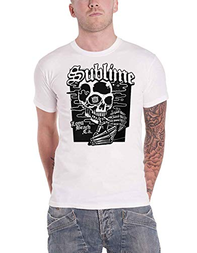 Sublime T Shirt Black Skull Band Logo Official Mens White Size - Official T-shirt Xxl