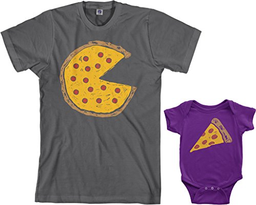 Threadrock Pizza Pie & Slice Infant Bodysuit & Men's T-Shirt Matching Set (Baby: 6M, Purple|Men's: S, Charcoal) Baby Rib S/s T-shirt