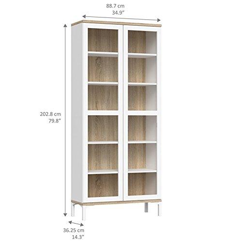Tvilum 9217649ak Aberdeen 2 Door China Cabinet, White/Oak Structure by Tvilum (Image #4)