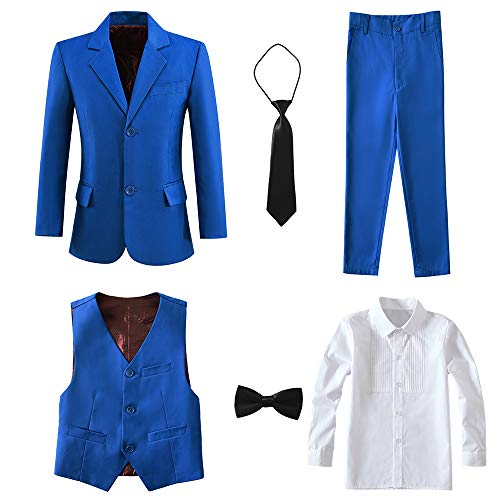 Yanlu Suit for Boys Kids Slim Fit Formal Suits 6 Piece Outfit Royal Blue Size -