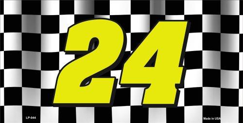 Smart Blonde Jeff Gordon NASCAR #24 Checkered Racing Flag Novelty Vanity Metal License Plate Tag Sign