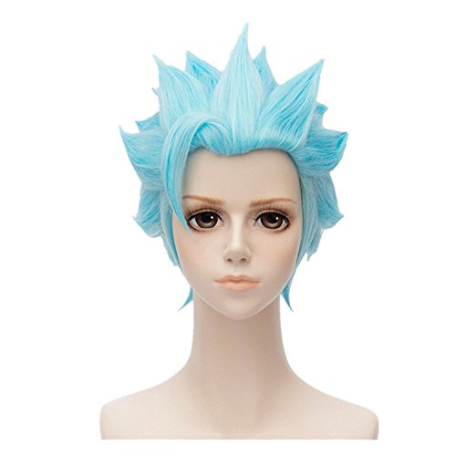 Seven Deadly Sins Ban Wig Fox's Sin of Greed Blue Short Straight Cosplay Hair Accessories Props Halloween Party]()