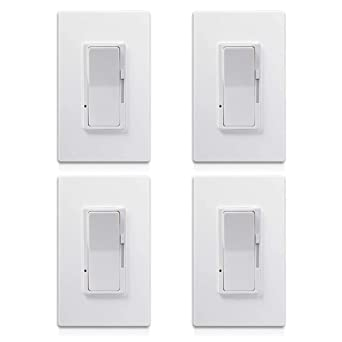 4 Pack - KEYGMA 0-10V LED Dimmer Switch for LED Lights, Single-Pole or 3-Way, Halogen and Incandescent Bulbs, Screwless Wallplate Included, ETL Listed, White