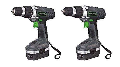(Pack of 2) Genesis GCD18BK 18v Cordless Drill/Driver Kit, Grey For Sale