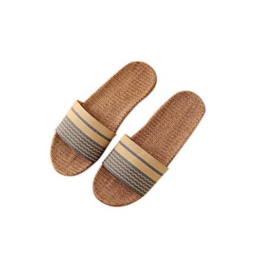 Summer Home Home TELLW Bottom and Indoor Linen Slippers Couple flooring Wood Thick Women Blue Anti Slippers Slip Men Pn4Parq