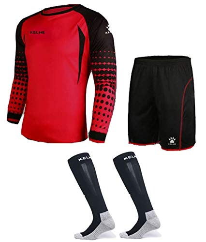 Goalkeeper Shirt Uniform Bundle - Includes Jersey, Shorts & Socks - Protection Pads on Shorts & Shirt - Kids and Adult Sizes (Red, Kids 8)