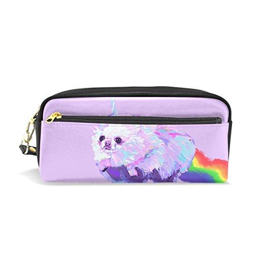 Sunlome Students PU Leather Pomeranian Dog Fantasy Unicorn Rainbow Stationary Pencil Case Pen Bag Pouch Makeup Cosmetic Bag