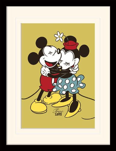 (iPosters Mickey & Minnie Mouse True Love Framed & Mounted Print - Overall Size: 36 x 46 cm (14 x 18 inches) Mount Size: 30 x 40 cm)