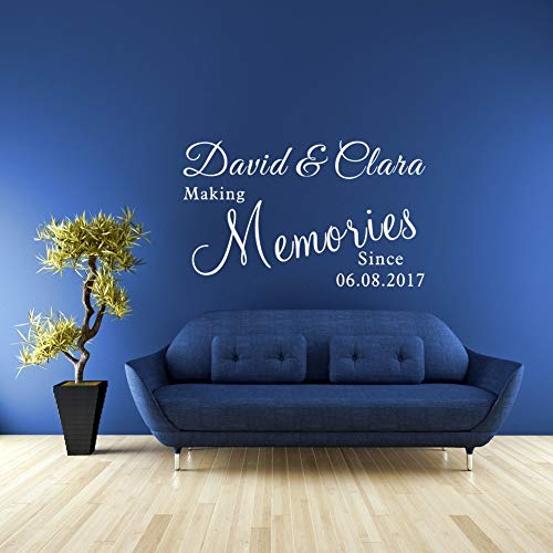 Tonaes Vinly Art Decal Words Quotes Personalized Couple Name and Date Making Memories Love Quotes Stickers for Living Room Bedroom