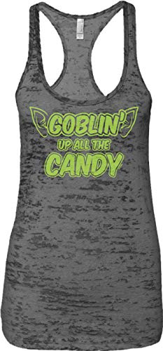Blittzen Ladies Tank Goblin' Up All The Candy - Halloween, L, Charcoal -
