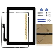 ipad 3 Screen Replacement, Universal Buying(TM) ipad 3 Screen Digitizer Touch Screen Front Glass Assembly Includes Home Button +Camera Holder +Pre-Installed Adhesive Tape +Middle Frame Bezel +Tools kit, Black