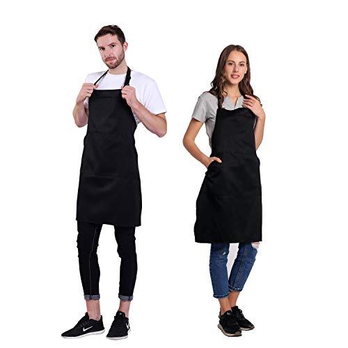 BIGHAS Adjustable Bib Apron with Pocket Extra Long Ties for Women, Men, Chef, Kitchen, Home, Restaurant, Cafe, Cooking, Baking, Gardening etc 13 Colors (Black)