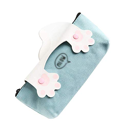IJHDUIKO Creative Pencil Bag Simple Cute Cat Claw with Zipper Stationery School Supplies Pencil Case Pencil Bag Cosmetic Bag for Girls Teenagers for School Office Supplies (Color : White, Size : -)