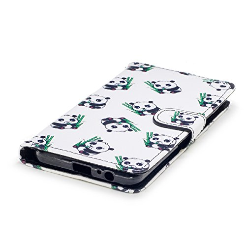 EUWLY Samsung Galaxy A5 2018 Leather Case,Panda Lion Animal Colorful Painting Patterns PU Leather Bookstyle Wallet Case Magnetic Closure with Stand Function [Anti-scratch] [Ultra-slim] PU Leather Wall Little Panda
