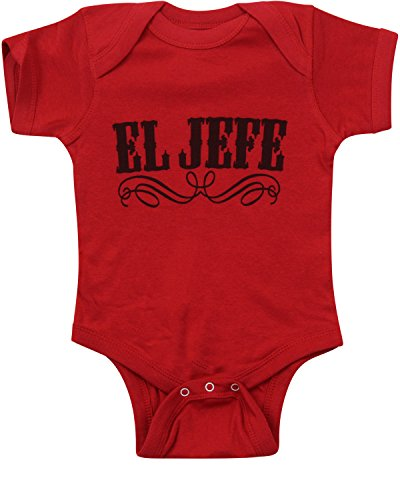 ShirtBANC Red/Blk Letters EL Jefe Baby Body Suit The Boss Infant Shirt 18M