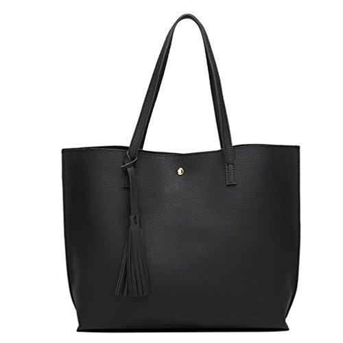 Tote Shoulder Black Bag Shopping Tassels Fcostume Leather Fashion Girls Handbag Bag Women wgqxARE