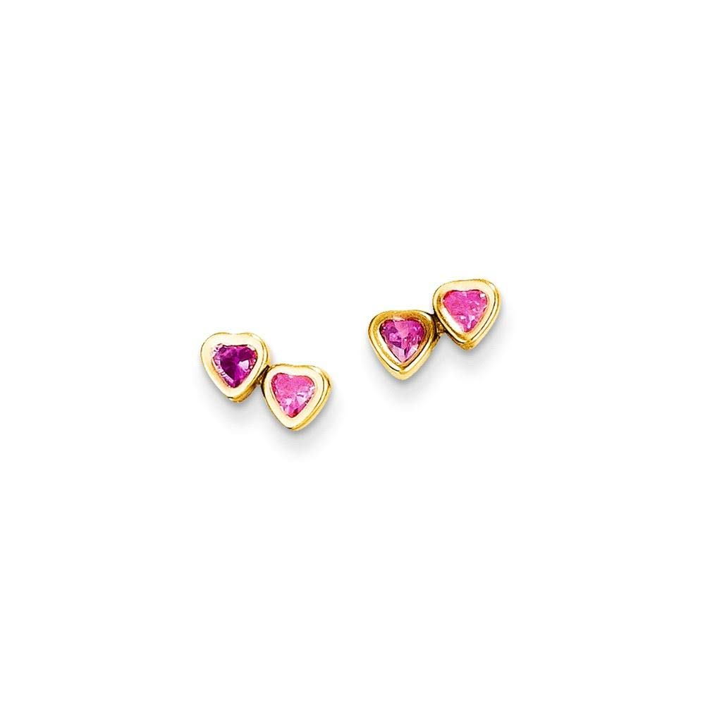 14K Yellow Gold Madi K Childrens 5 MM Pink CZ Hearts Post Stud Earrings