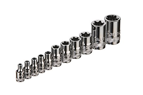 ARES 70261 | External Torx Socket Set | 11-Piece Set Includes 1/4-inch, 3/8-inch and 1/2-inch Drive E4 to E20 Sockets | Set Comes Complete with Convenient Socket Storage Rail by ARES (Image #1)