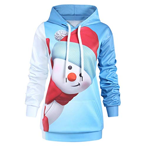 Low Pleated Jumper (Christmas Ugly Sweater FEDULK Men Womens Hoodie Pullover Snowman Print Sweatshirt Plus Size Unisex Tunic(Blue, US Size XL = Tag 2XL))