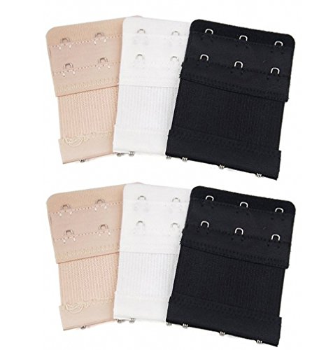 6pcs Women Ladies Soft Comfortable Back Bra 2 Rows by 3 Hooks Band Extension Strap Extender, White / Black / Khaki