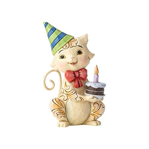 Enesco Jim Shore Heartwood Creek Collection Stone Resin Birthday Cat Mini Figurine, 3.5