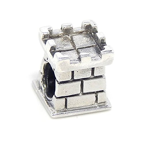 Solid Sterling Silver Castle Tower Charm Bead Compatible with European Snake Chain - Shops Castle Towers