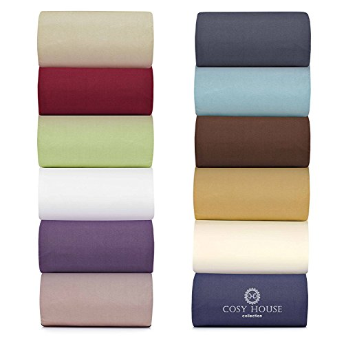 Cosy House Bamboo Bed Sheets, Set of 4 - Hypoallergenic, Ultra Soft & Cool Viscose Rayon & Microfiber Blend Bedding with Deep Pocket Fitted Sheet, Flat Sheet, and 2 Pillowcases - King, Purple