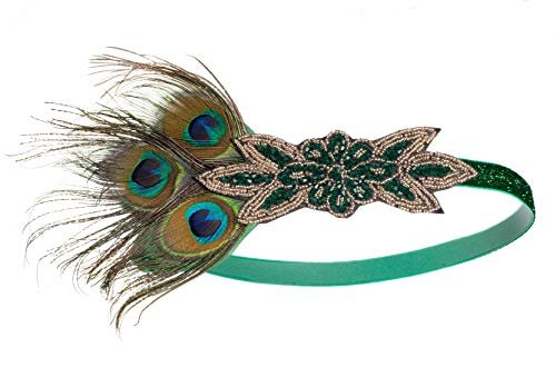 1920s Gatsby Flapper Feather Headband 20s Accessories Crystal Beaded Wedding Headpiece (M-Peacock)]()