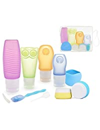 ieGeek Leakproof Silicone Travel Bottles Set(10Pcs) with a PVC Bag Case and Toothbrush Cover for Liquids with Cream, Shampoo, Conditioner, Soap, Lotion, Sunblock, Toiletries