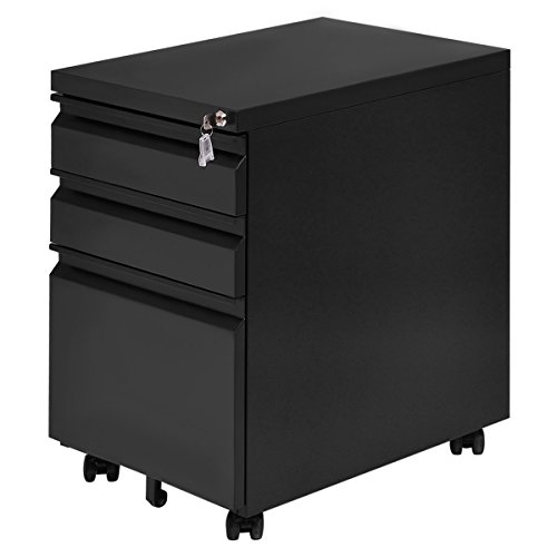 Giantex 3 Drawers Rolling Mobile File Pedestal Storage Cabinet Steel Home Office (Black)
