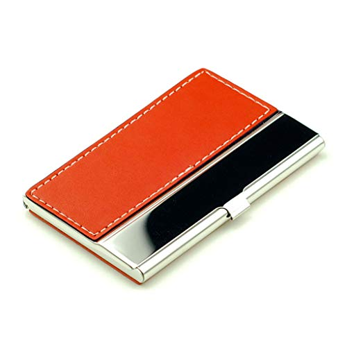 Pocket Business Card Case Stainless Steel Leather Embossed Credit ID Card Holders Business Name Card Organiser with Flannel Lined (Color : Orange) (Leather Orange Embossed)