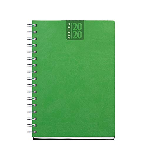 Agenda giornaliera spiralata 2020 AGENDEPOINT.IT/® VERDE LIME 15x21 in ecopelle