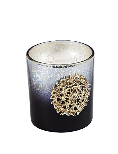 B. Boutique Black Saffron Violet Jewel Crackle Glass Candles, Set of 2 Evergreen Soy Candle