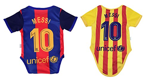 Leo Messi #10 Barcelona Soccer Jersey Baby Infant & Toddler Onesies Rompers Pack of 2 Home & Away Jersey Design Bundle (12-18, Home)