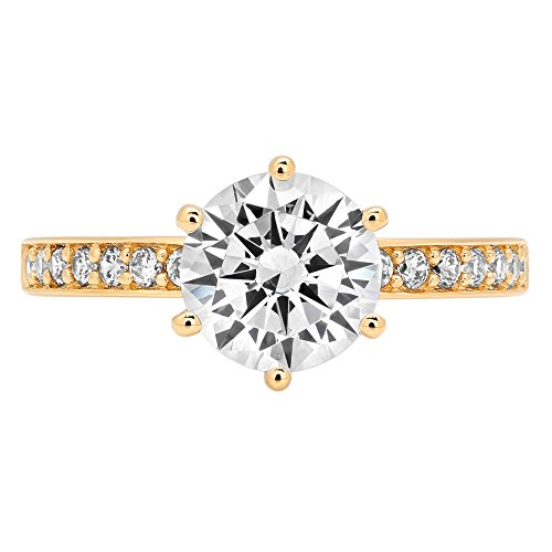 Clara Pucci 2.06 ct Brilliant Round Cut CZ Designer Accent Solitaire Ring in Solid 14k Yellow Gold by Clara Pucci