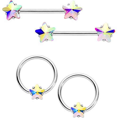 Body Candy 14G Nipplering Piercing Steel 4Pc Aurora Accent Star BCR Barbell Nipple Ring Set of 4 9/16