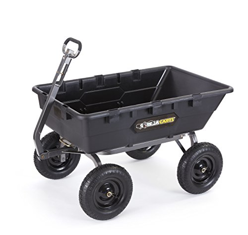 Gorilla Carts GOR10-16 Super Heavy Duty Poly Dump Cart, 1,500-pound Capacity, Black