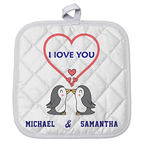 Personalized Custom Text I love you Two Penguins Polyester Pot Holder Trivets