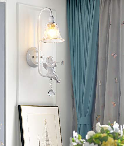 HYYK Modern E14 Wall Sconce Lamp, Resin Angel Blowing Horn Bird Wall Lamp Bedroom Bedside Lamp Wall Light LED Crystal Glass Lighting, B ()