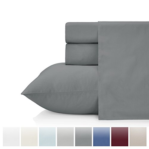 - KRISTEX Comfortable 500 Thread Count 3 pc Bed Sheet Set, 100% Long Staple Pure Natural Cotton Sateen Weave, Soft Luxury High TC Sheets Hotel, Home Bedding Sets, Great Gift Ideas (Dark Grey, Twin)