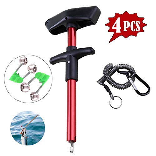 - Easy Fish Hook Remover 2019 New Squeeze-Out Fish Hook Separator Tools Portable Easy Reach Aluminum Fishing Hooks Extractor Fast Decoupling (Including Two Bells and One coiled lanyard rope) (red)