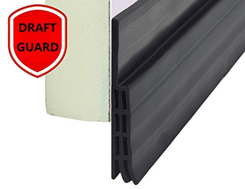 Door Sweep Draft Stopper Door Weather Stripping Against Dust Sound Light Silicone Triple-Fin Self-Adhesive 39 Inch Length Easy Cut to Size (Black) (Patio For Doors Replacement Weatherstripping)