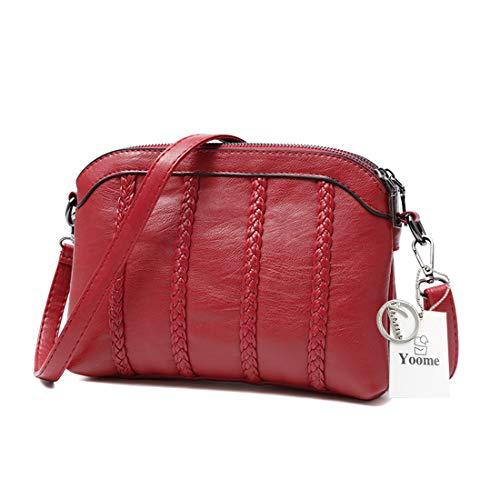 gran puro mujeres bolsos Rojo cúpula Yoome retro Streakiness capacidad de rojo color suave las bolsos de cuero para pUqZwY5S