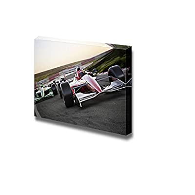 Red Race Car Close Up Front View on a Track Leading The Pack with Motion Blur - Canvas Art Wall Art - 32