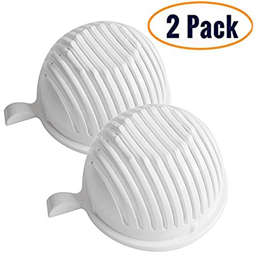 ([2-PACK] White/Green Salad Cutter Bowl Set - 4 In 1 Multi-Functional- Make Your Salad in 60 Seconds with this Fast & Easy To Use Salad Chopper, Cutting Board, Strainer & Bowl (White))