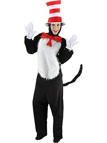 elope Adult Deluxe Cat In The Hat Costume, Red/White, Small/Medium -