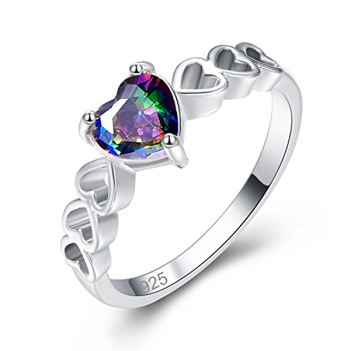 Psiroy 925 Sterling Silver Created Rainbow Topaz Filled Open Heart Band Promise Ring