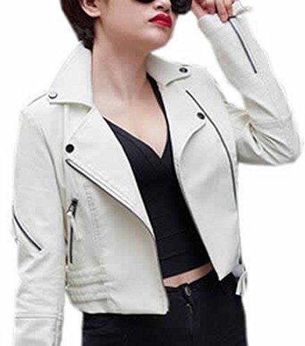 KXP Women's Assymetrical Zipper Faux Leather Crop Jackets white XL ()