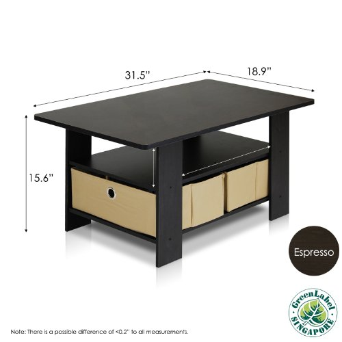 Furinno 11158ex br coffee table with bins espresso brown for Coffee tables uae