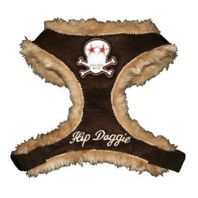 (Fur Skull Dog Harness Vest Size: Small, Color: Brown)